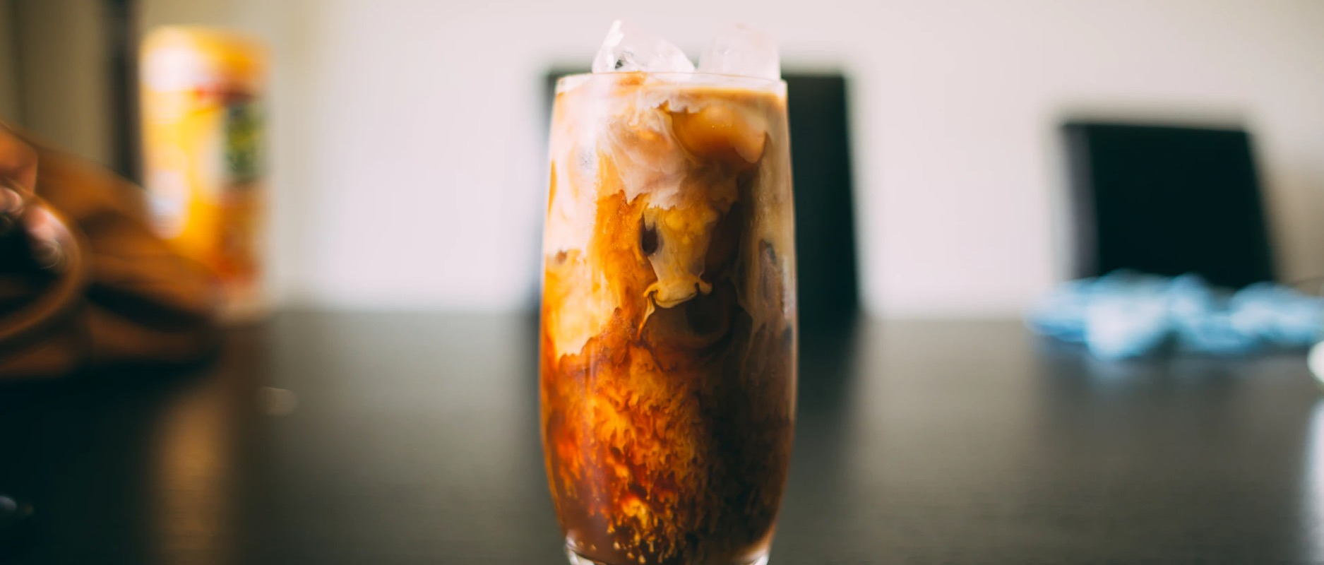 Cold Brew coffee in a glass with milk