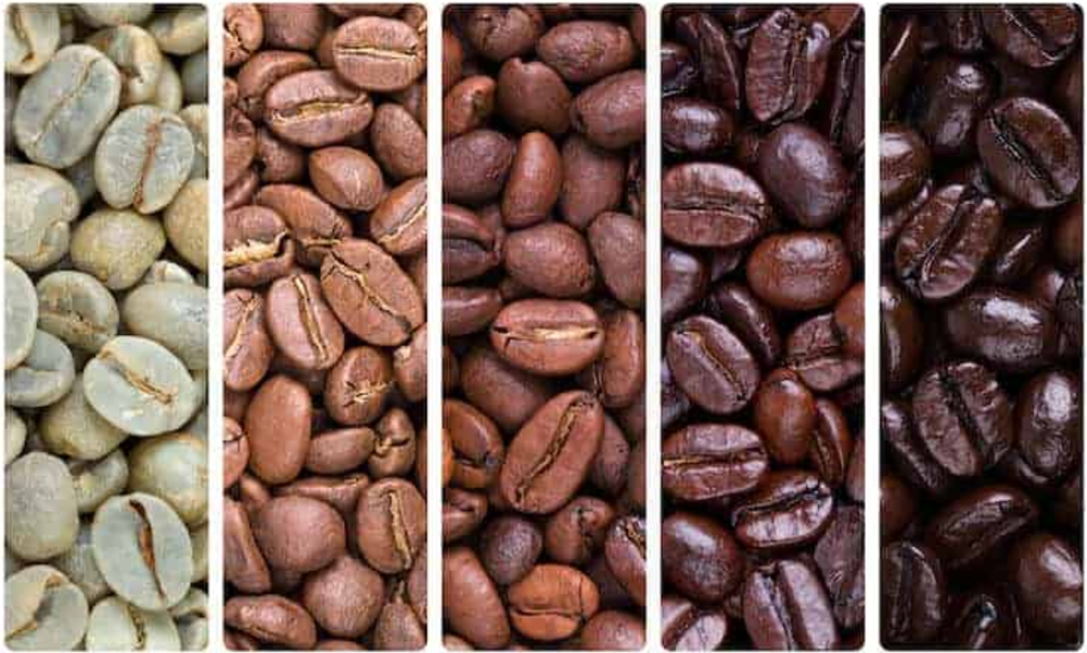 Green coffee beans, light roasted coffee beans, medium roasted coffee beans, dark roasted coffee beans and full dark coffee beans