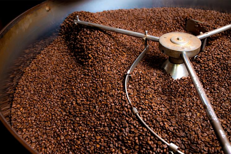 Coffee in a roasting machine