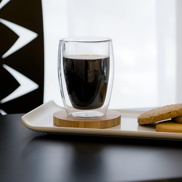 Double walled glass with coffee
