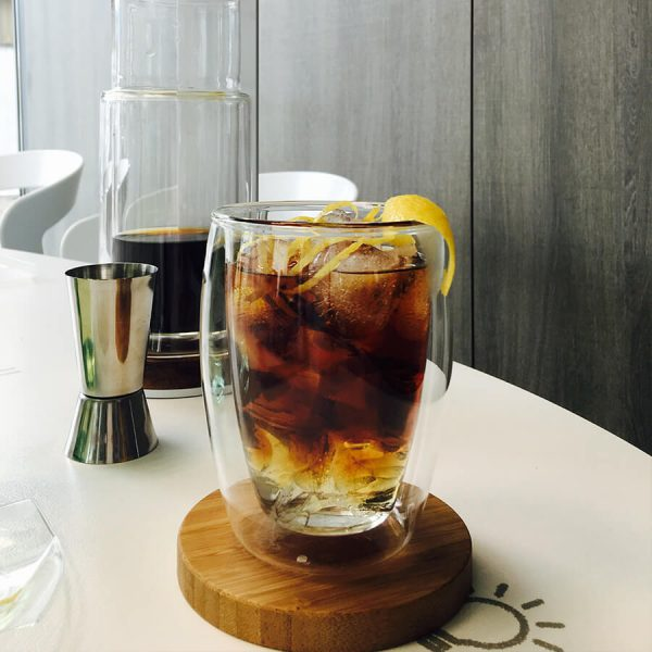 Coffee and tonic in a bormioli glass