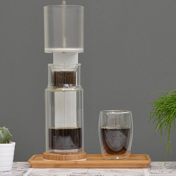 Brrrewer with coffee glass and coffee