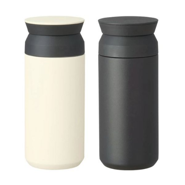 A white and a black travel tumbler