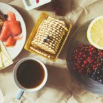 Breakfast with fruits and coffee